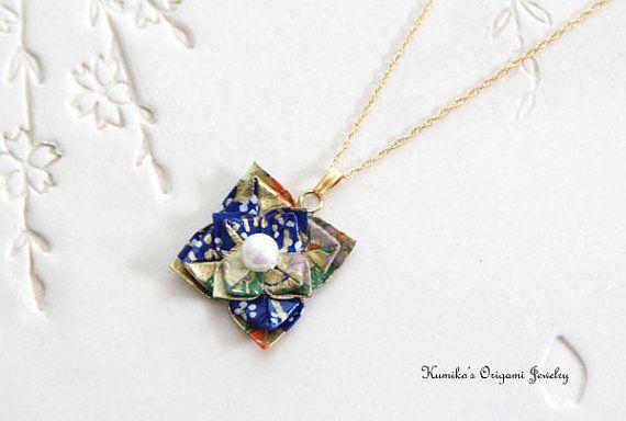 Origami Jewelry  Japanese Origami Flower by KumikosOrigamiJewel