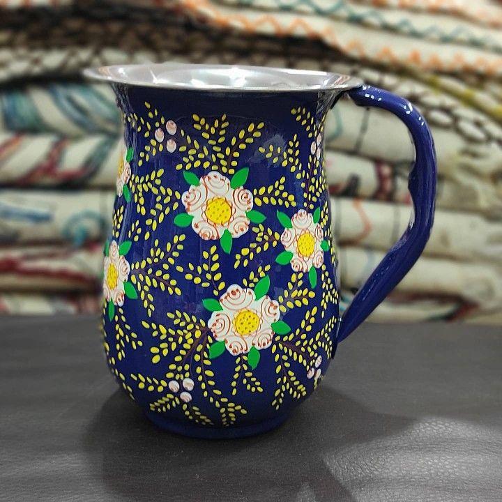 Hand Painted Enamelware Hand Painted Metal Pitchers Hand painted Pitchers Kashmir Enamelware Kashmir Enamelware Pitchers Boho Jugs