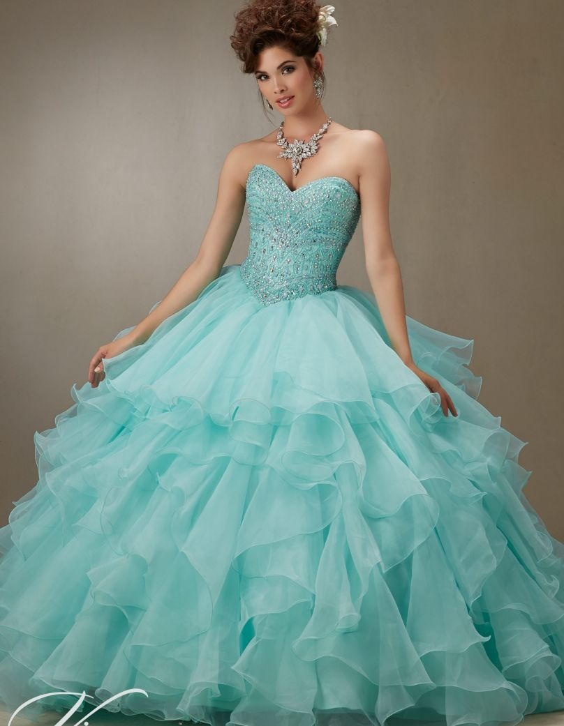 Light Aqua Hot Pink Coral White Quinceanera Dresses Cheap ...