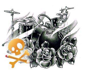 Drum Set Sketch Tattoo Ideas Pinterest Tatuajes Musica And