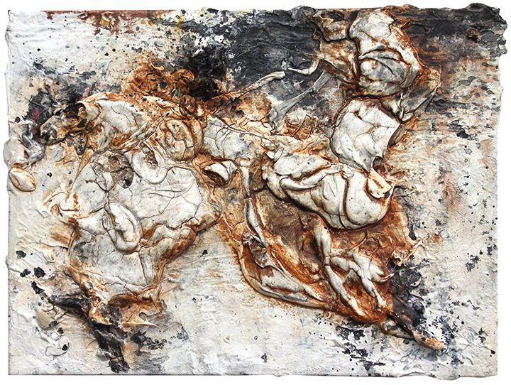 "Genesis 9, Acrylic, Calcium Carbonate, Carbon, Graphite, Emulsion and Pigments on Canvas, 9"" x 12"", $450, http://transformgallery.com/Erick-sanchez/"