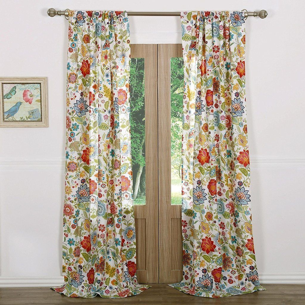 84 Inch Girls White Color Floral Pattern Curtain Panel Pair Red