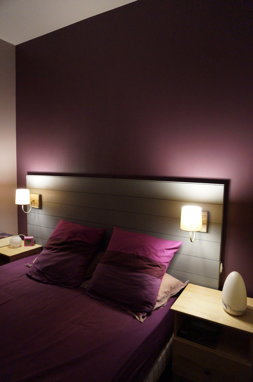 Tªte de lit faite maison accrochée fa§on tableau Fait avec