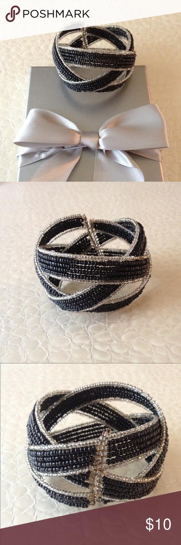 Selling this Black and silver beaded bangle on Poshmark! My username is: funfashionfun. #shopmycloset #poshmark #fashion #shopping #style #forsale #Jewelry