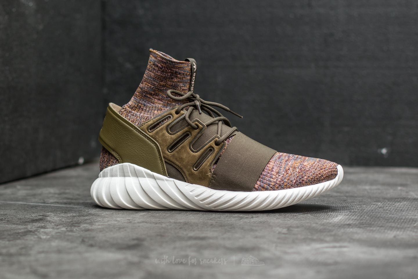 best cheap 92b63 70254 adidas Tubular Doom Primeknit Trace Olive/ Mystery Brown/ Crystal White at  a great price 107 € buy at Footshop