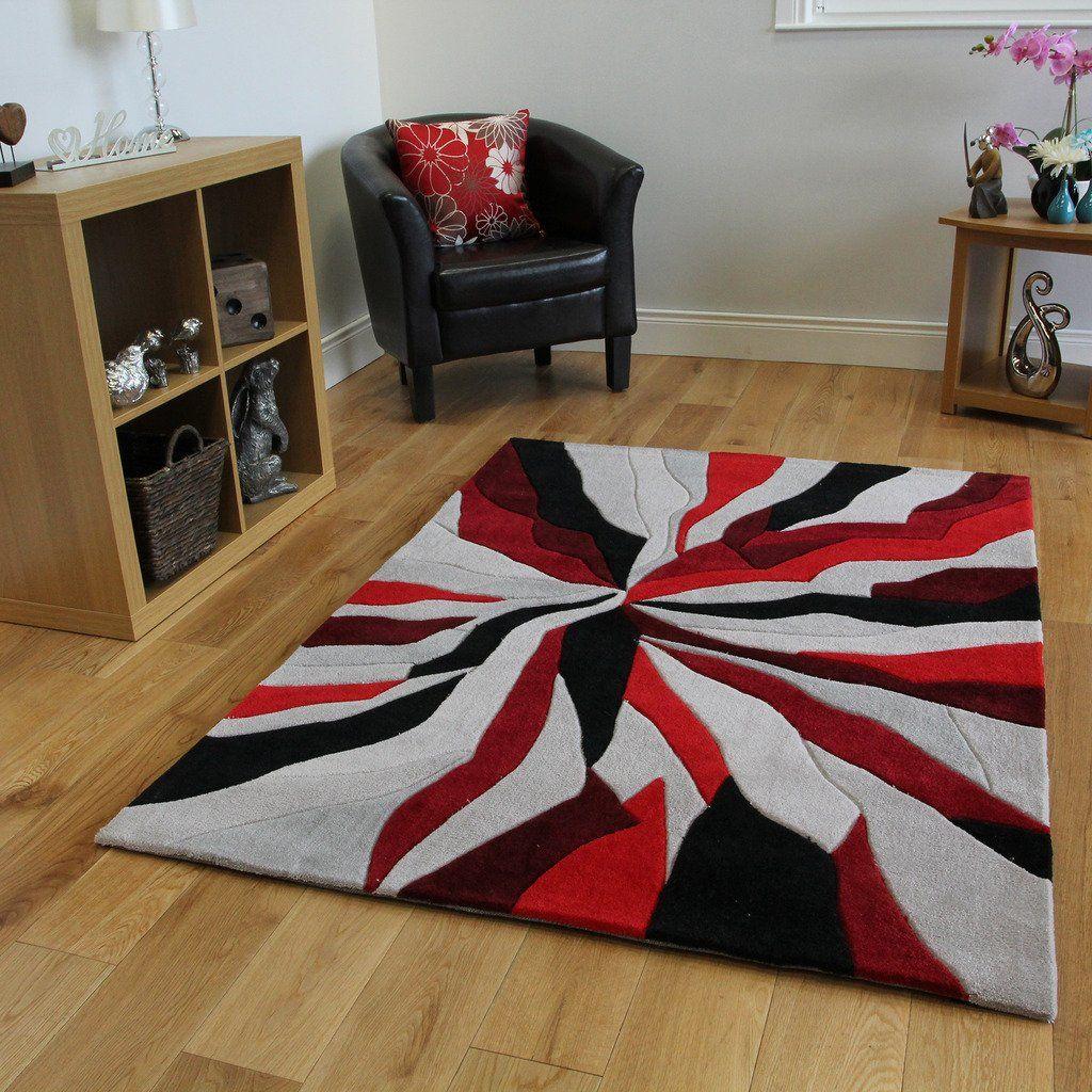 tapis moderne rouge noir et gris motif