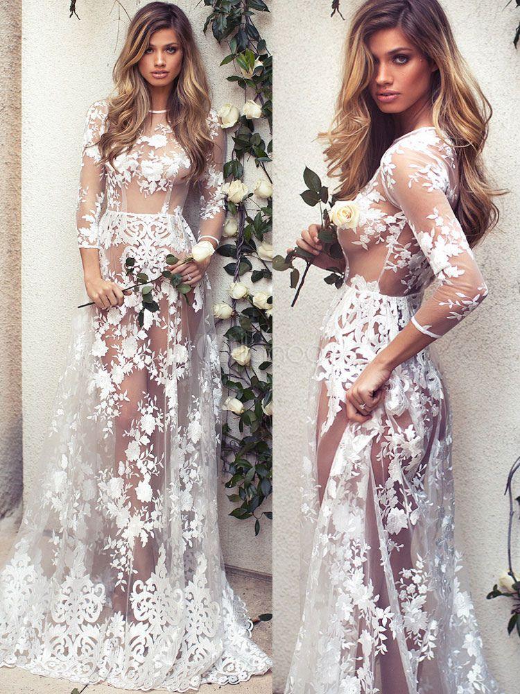 Vestido largo de encaje color blanco