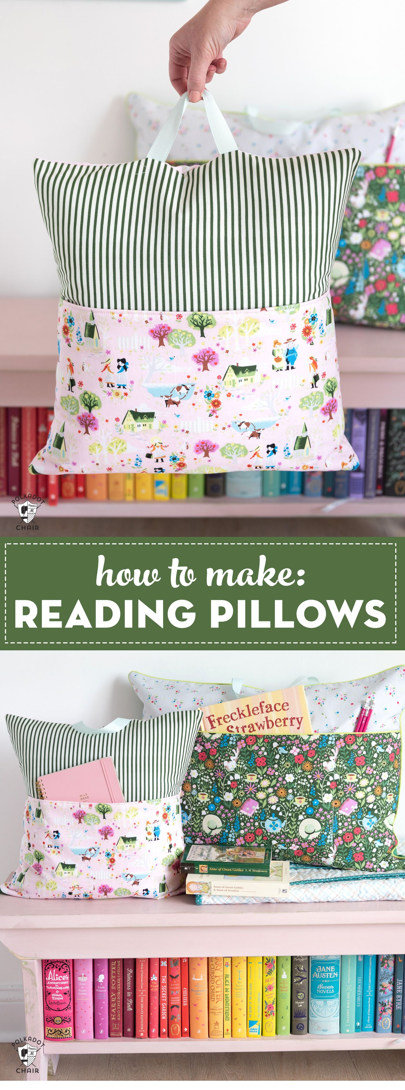 Learn how to make reading pillows with this easy and free reading pillow sewing…