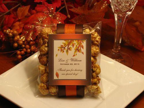 fall wedding favor idea popcorn