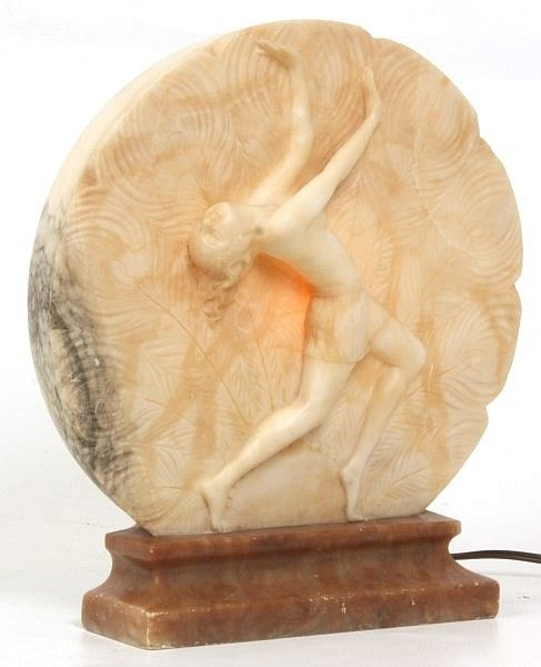 Signed P Philippe Carved Alabaster Lamp Round Carved White