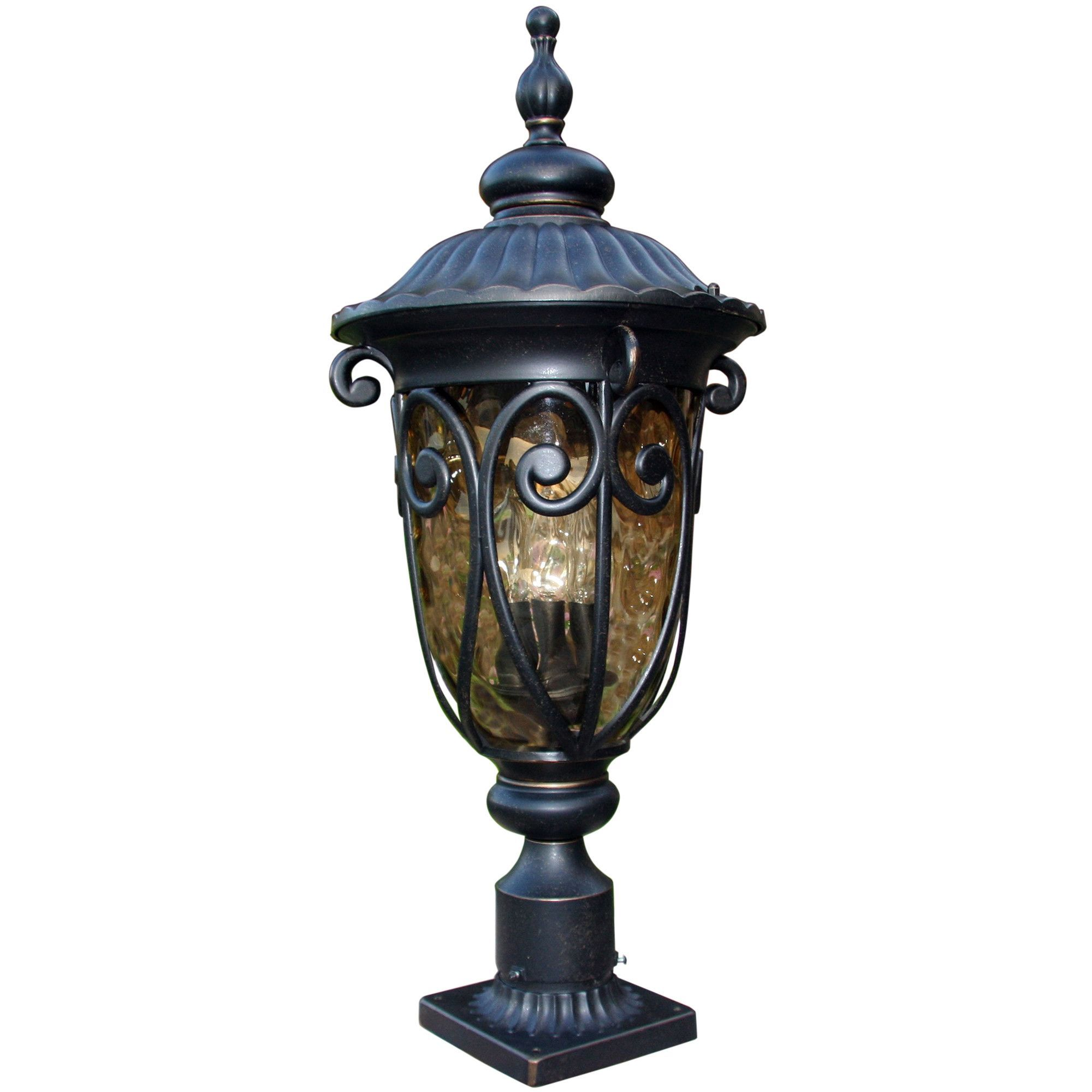 Glomar 3-Light White Wall Lantern Outdoor Candelabra Base Durably Crafted Metal