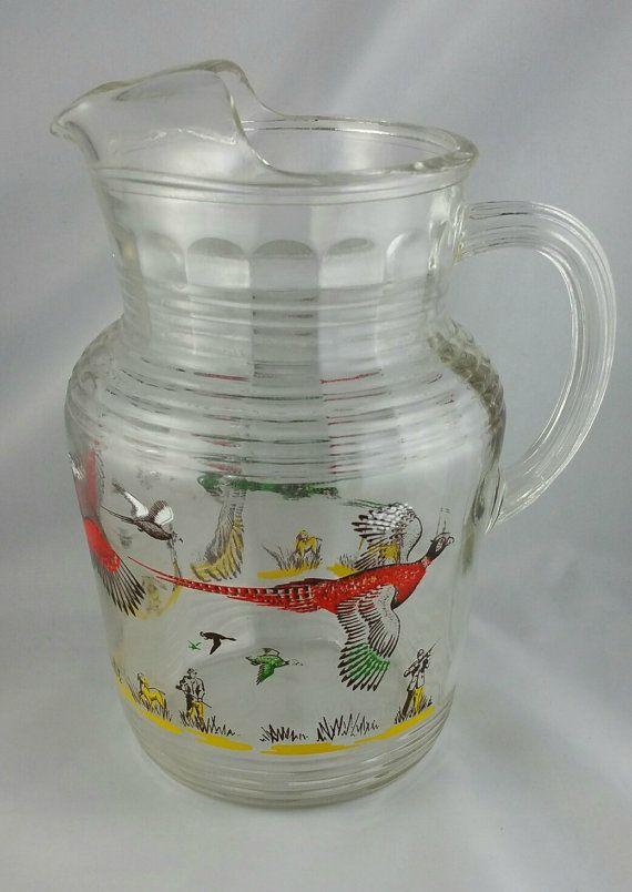 Vintage Hazel Atlas Pheasant Glass Pitcher And Whiskey Glass Set Bird Hunting Glassware 1960s Barware Retro Glassware Vintage Glass Pitchers Glass Pitchers