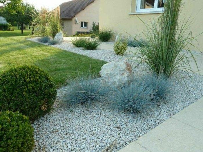 Perfekt Moderne Gartengestaltung Mit Rasenfläche Kies Pflanzen