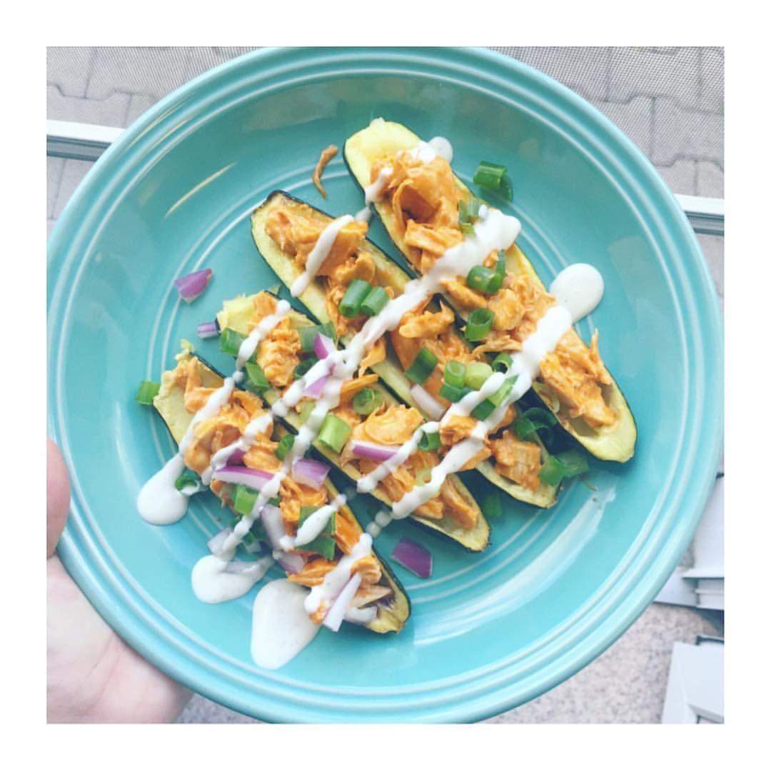 Buffalo Chicken Zucchini Boats For Dinner Tonight😍It Was