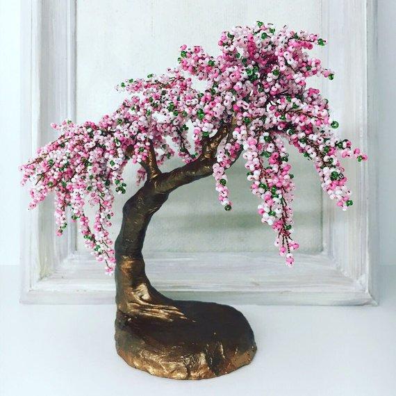 Cherry Blossom Pink Beaded Bonsai Tree Gardening Gift Sakura Etsy In 2021 Bonsai Tree Wire Tree Sculpture Tree Sculpture
