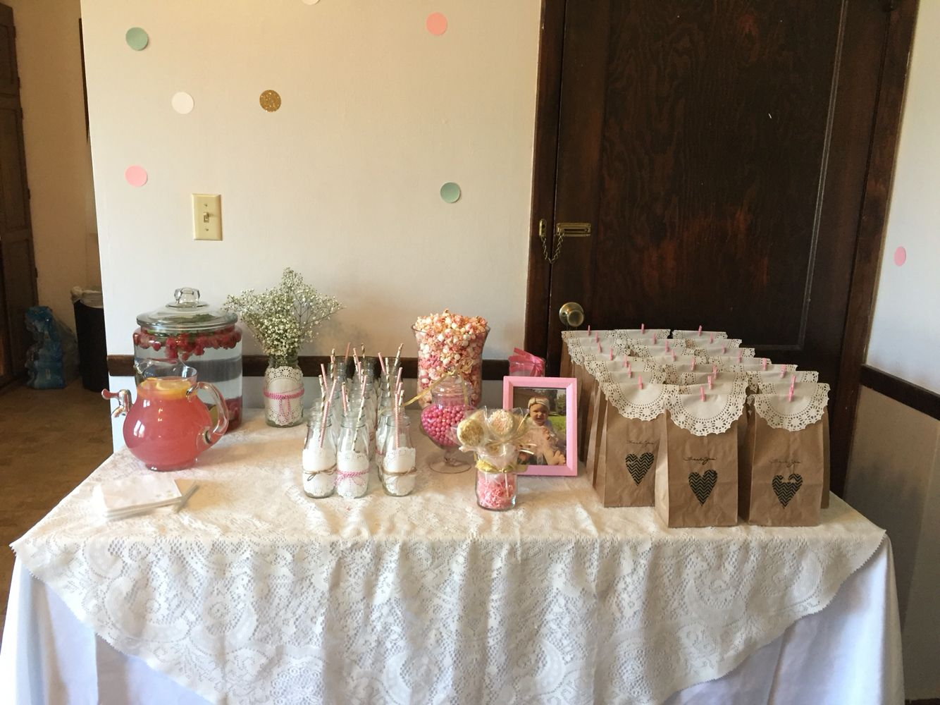 Drink and goodie bag table Pink and gold vintage first birthday