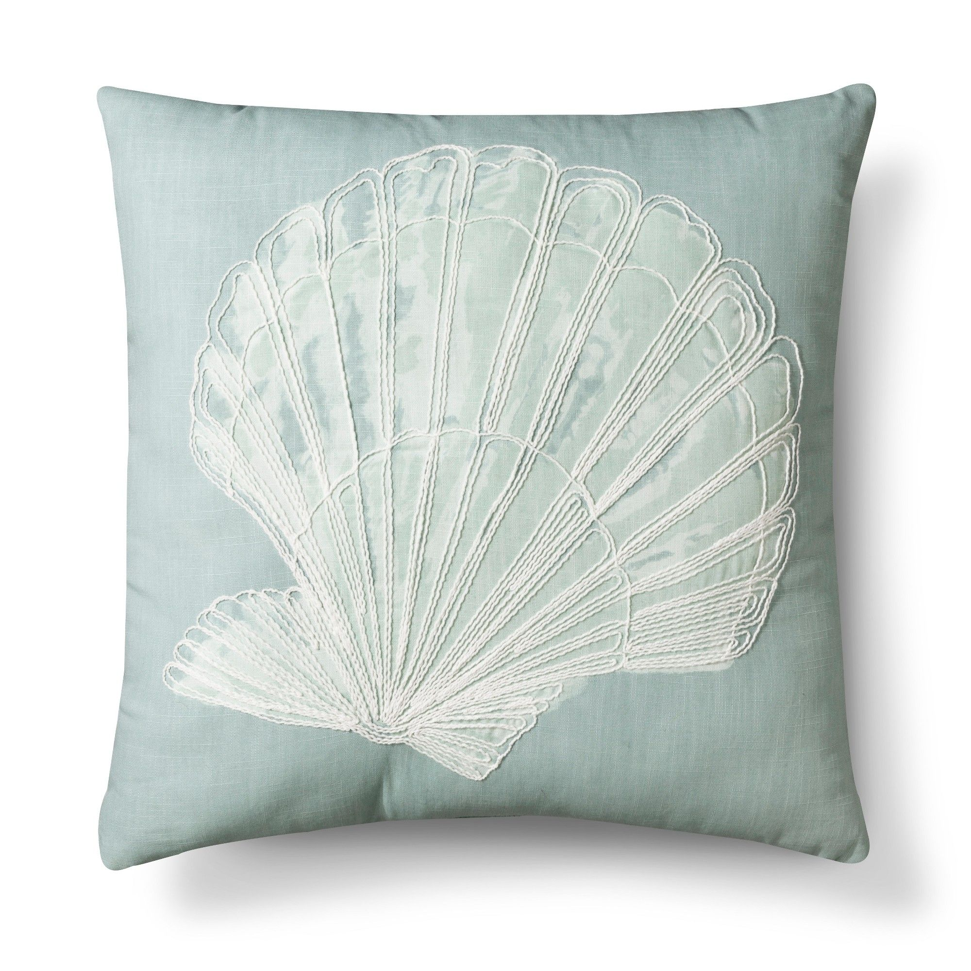 Blue Shell (White) Embroidered Throw Pillow Threshold