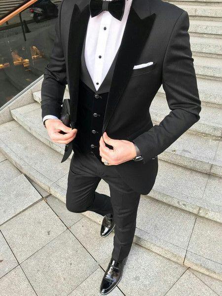 #wedding suits men Latest Design Black Groom Tuxedos Men Wedding Suits Velevt Pe... ,  #Black #design #Groom #latest #Men #suits #Tuxedos #Velevt #wedding #weddingsuitsmen