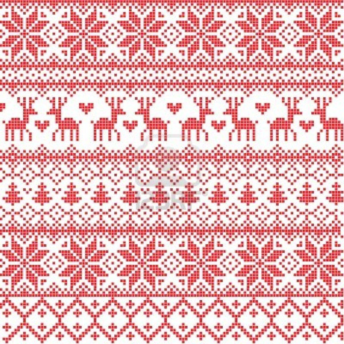 Illustrated Traditional Red Nordic Pattern Norwegian Knitting Christmas Knitting Knitting Charts