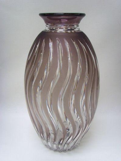 cristal val st lambert important vase en cristal taill. Black Bedroom Furniture Sets. Home Design Ideas