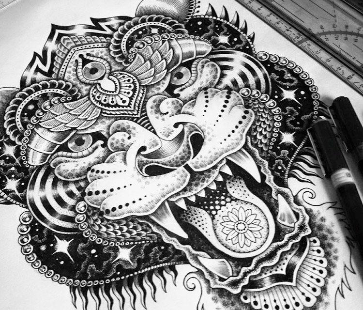 Tiger cat marker drawing by sneaky studios from auckland new zealand no 1249 phatty tats - Tigre mandala ...