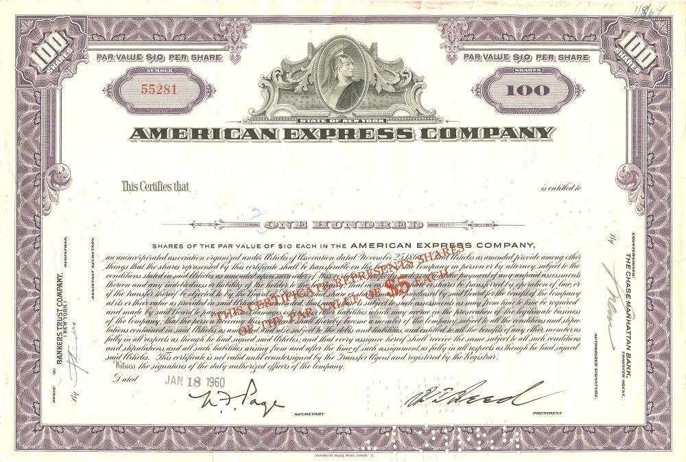 American Express Stock Certificate circa 1960 Scripophily - company share certificates
