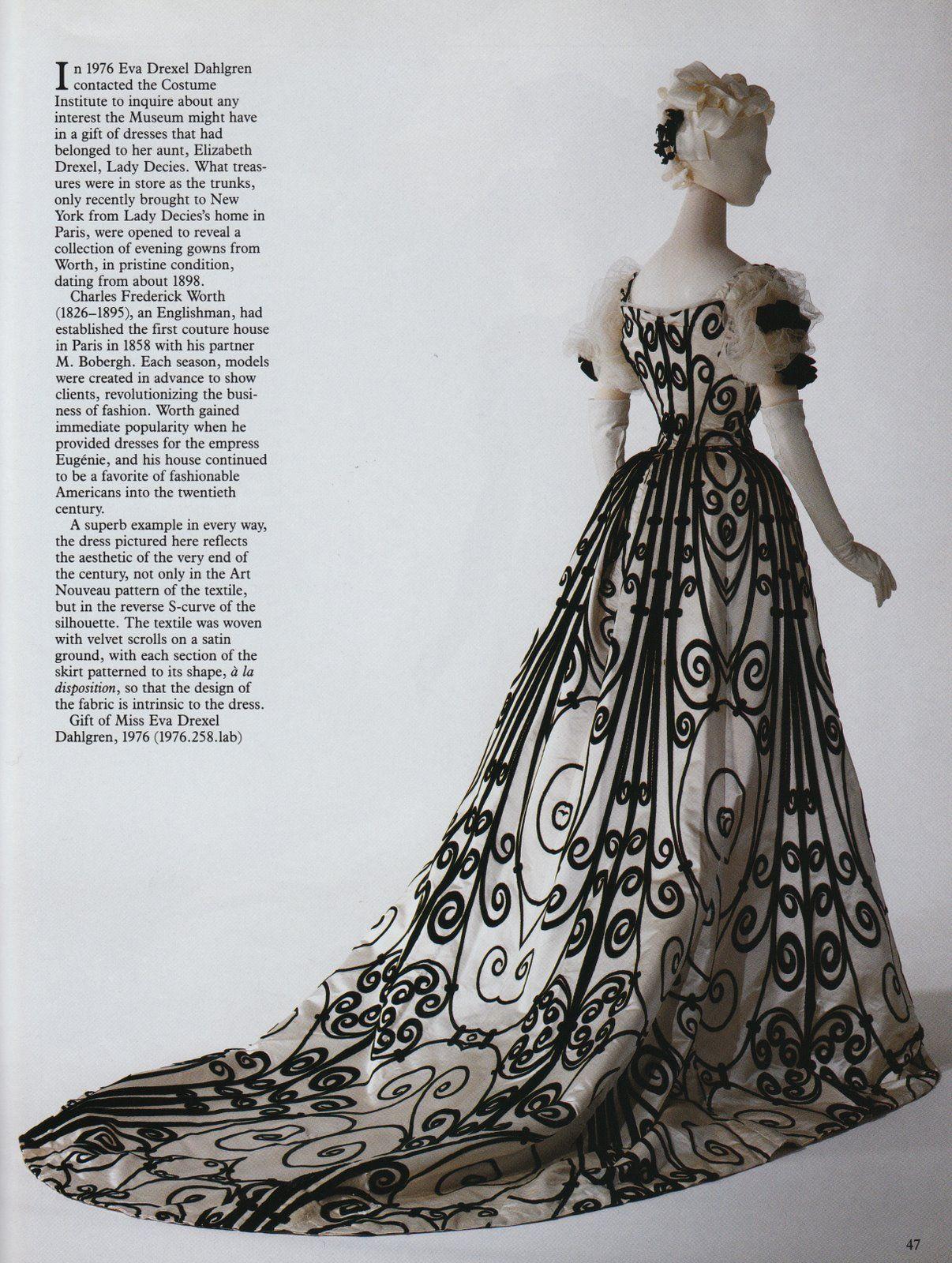 Article Art Nouveau Black Velvet Scrolls Evening Gown