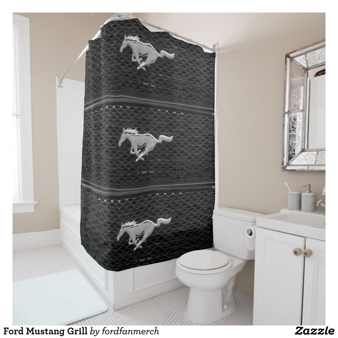 Ford Mustang Grill Shower Curtain