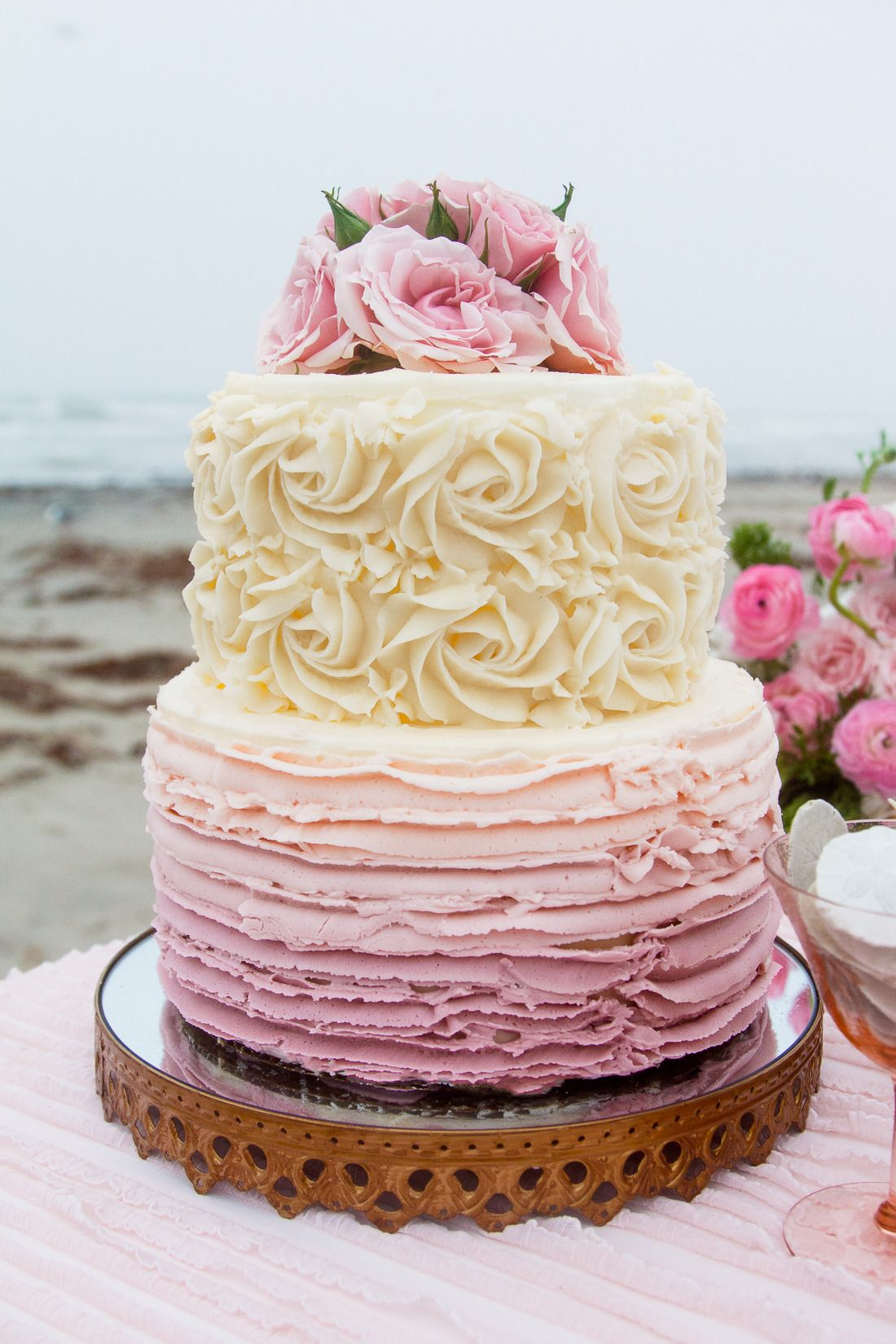 Romantic galveston elopement from c baron photography cake