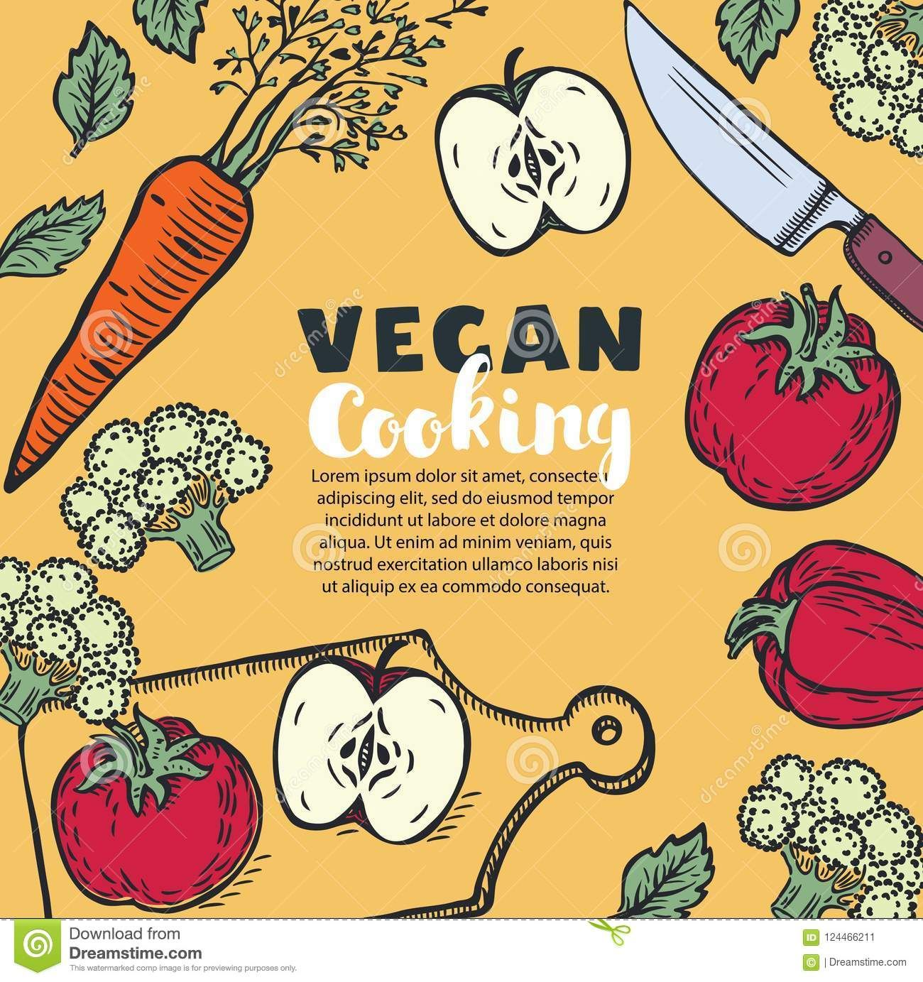 Vector Vegetarian And Vegan Food Recipes Banner With Illustration Of And Chopped Vegetables Copyspace At Center In Vintage Colo Vegan Recipes Vegetarian Vegan