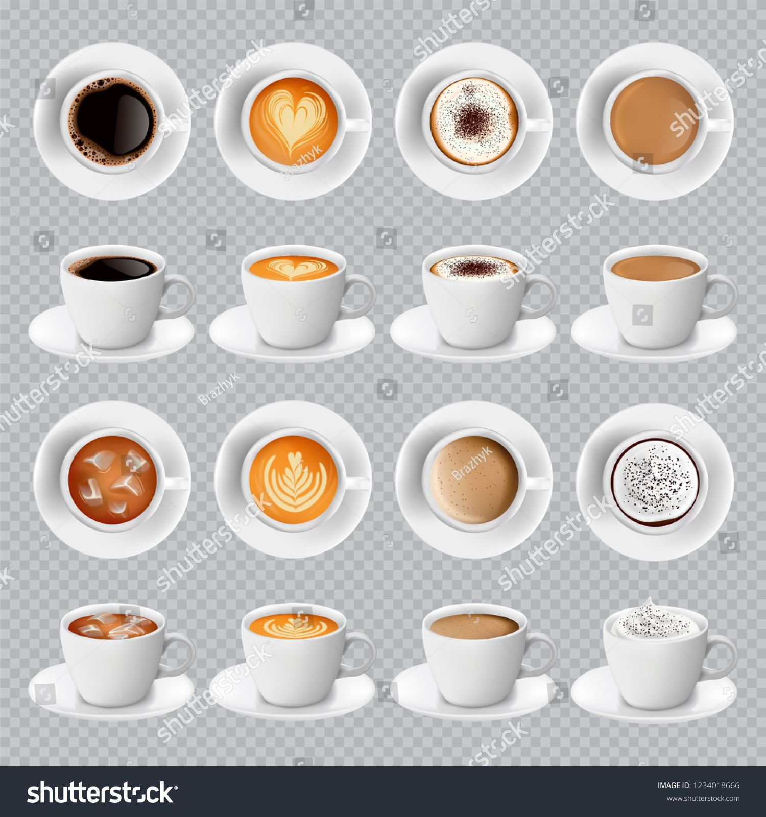Realistic different sorts of coffee in white cups view from