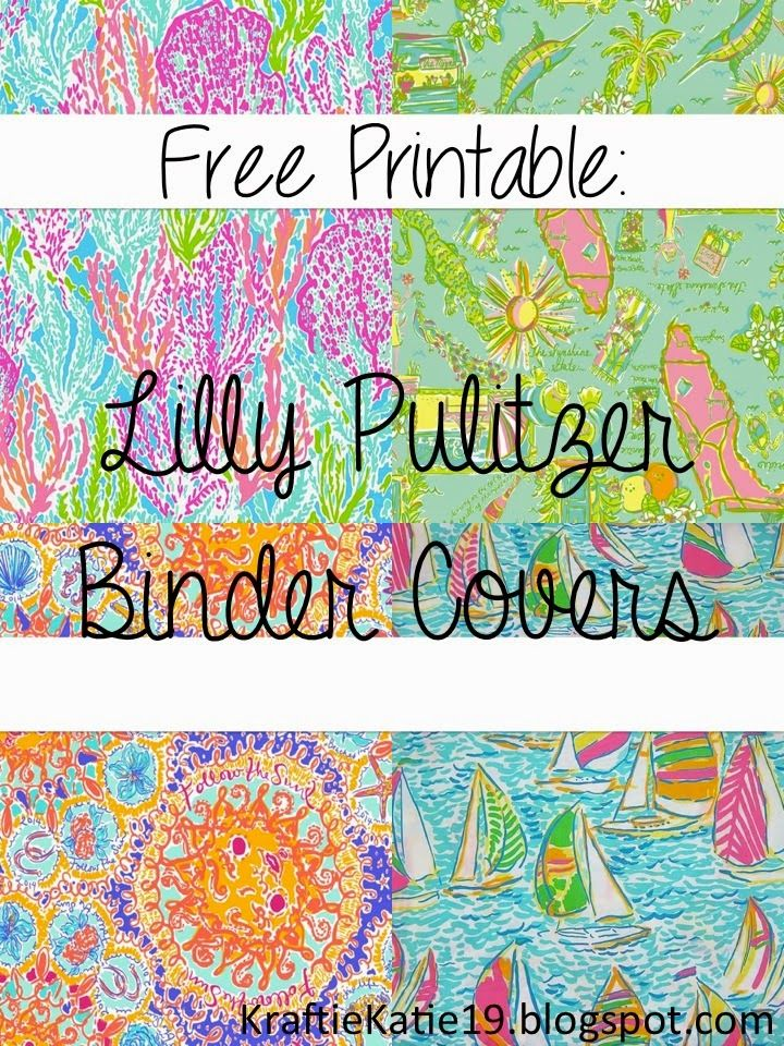 Kraftie katie lilly pulitzer binder covers diy free for Free binder cover templates