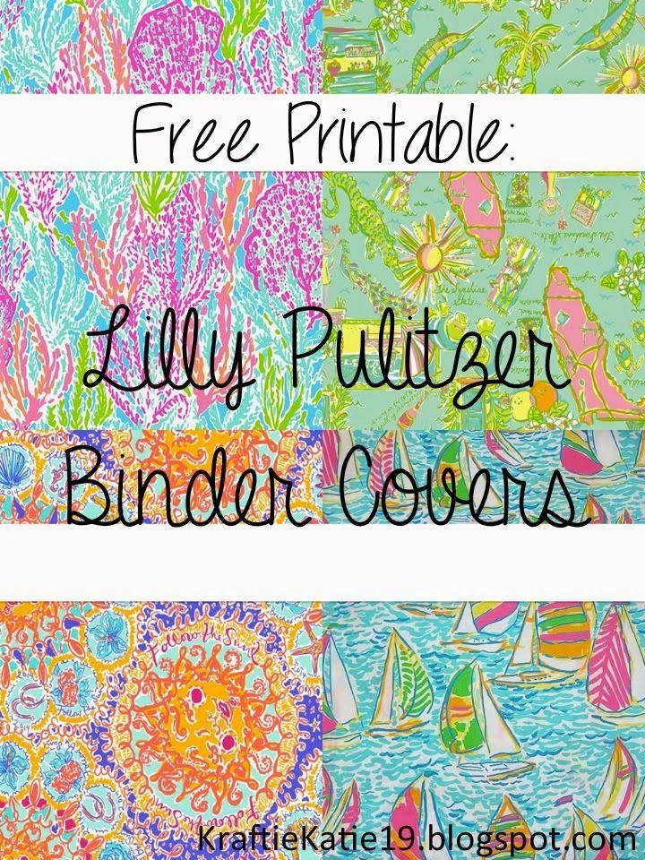 30d0c5d0f55686 Kraftie Katie  Lilly Pulitzer Binder Covers DIY Free Printable ...
