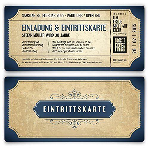 Schön Einladungskarten Zur Hochzeit (50 Stück) Als Eintrittskarte Vintage Retro  Einladung Karte
