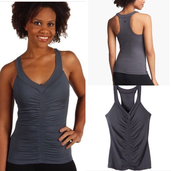 PrAna Kathleen Coal Tank Top Size Medium. EEUC! 92% Micro Polyester, 8% Spandex. Shelf-bra. Flattering ruching down the front lends shaping and dimension to your torso. Really soft stretch fabric! Racetrack. Machine wash/dry. Made in USA. prAna Tops Tank Tops