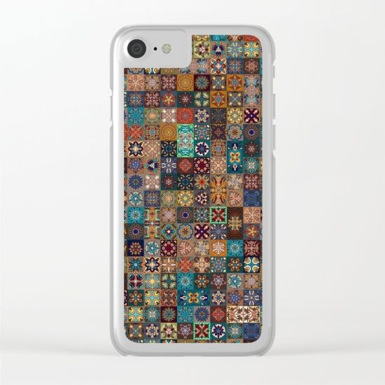 Vintage patchwork with floral mandala elements Clear iPhone Case