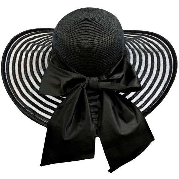 8820b261 Black Wide Brim Circular Pattern Floppy Hat With Large Satin Bow ($67) ❤  liked on Polyvore featuring accessories, hats, black, floppy, print hats,  ...