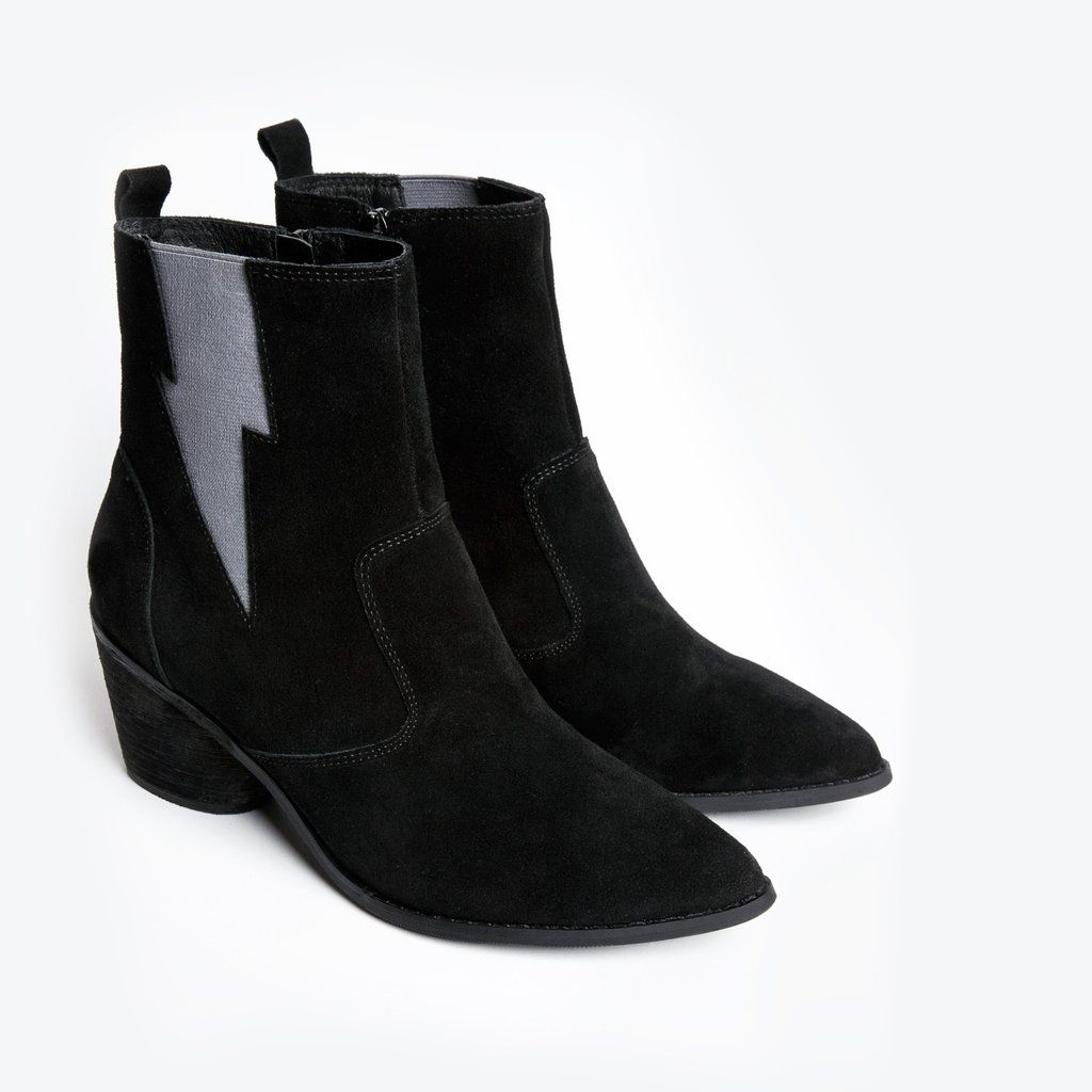 Black suede chelsea boot. Western ankle bootie with lightning thunder bolt  elastic gore. Zipper