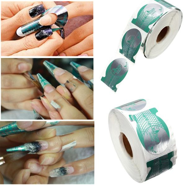 500pcs Nail Art Tips Extension Forms Guide Stickers   Nail Art ...