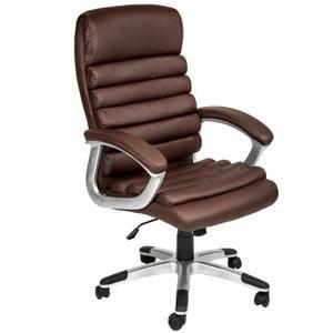 chaise de bureau fauteuil de bureau standing ergonomique hauteur reglable inclinable pivotante marron tectake