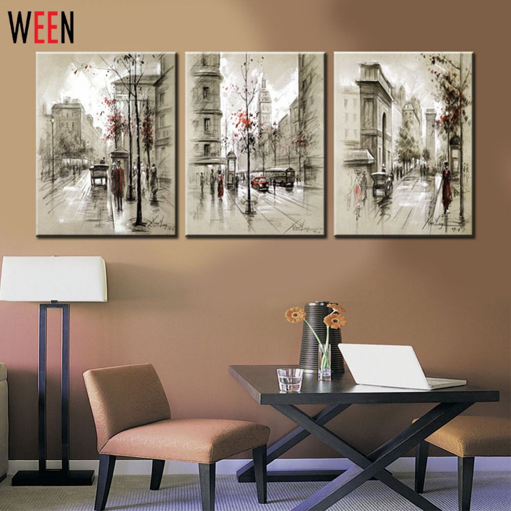 Home interiors and gifts paintings - Oil Painting Canvas Retro City Street Landscape 3 Piece Modern Style Cheap Oil Pictures Decorative Wall