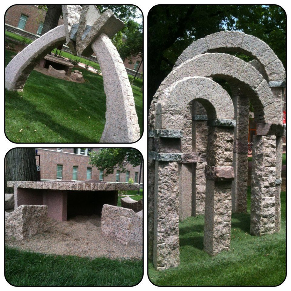 Stone structures located outside of Olin Hall, DU