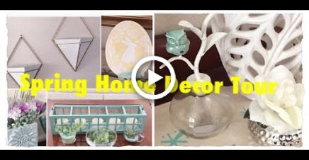 Spring Home Decor Tour 2018 Thrift Store Finds and Dollar Tree DIYs #thriftstorefinds