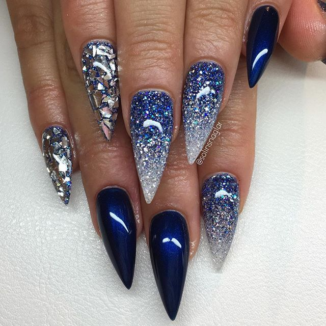 "Stilleto Nail Ideas For Prom: ""Midnight Blue"" Med Blått Glitter, Diamond Och"