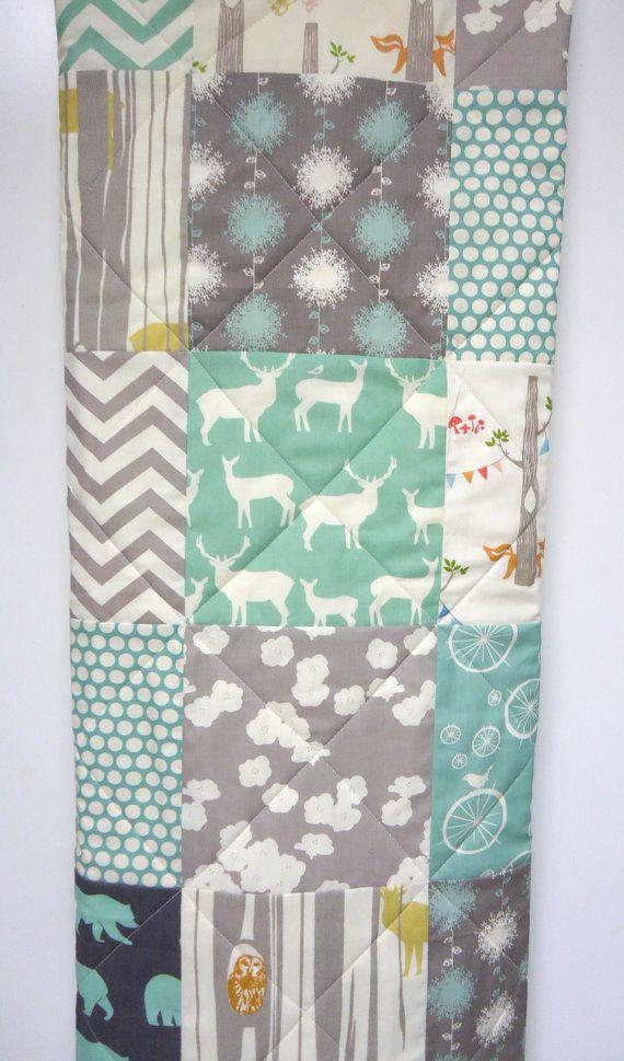 Modern-Baby Quilt-Organic-Baby Boy Bedding-Birch Fabric-Chevron ... : organic baby quilts - Adamdwight.com