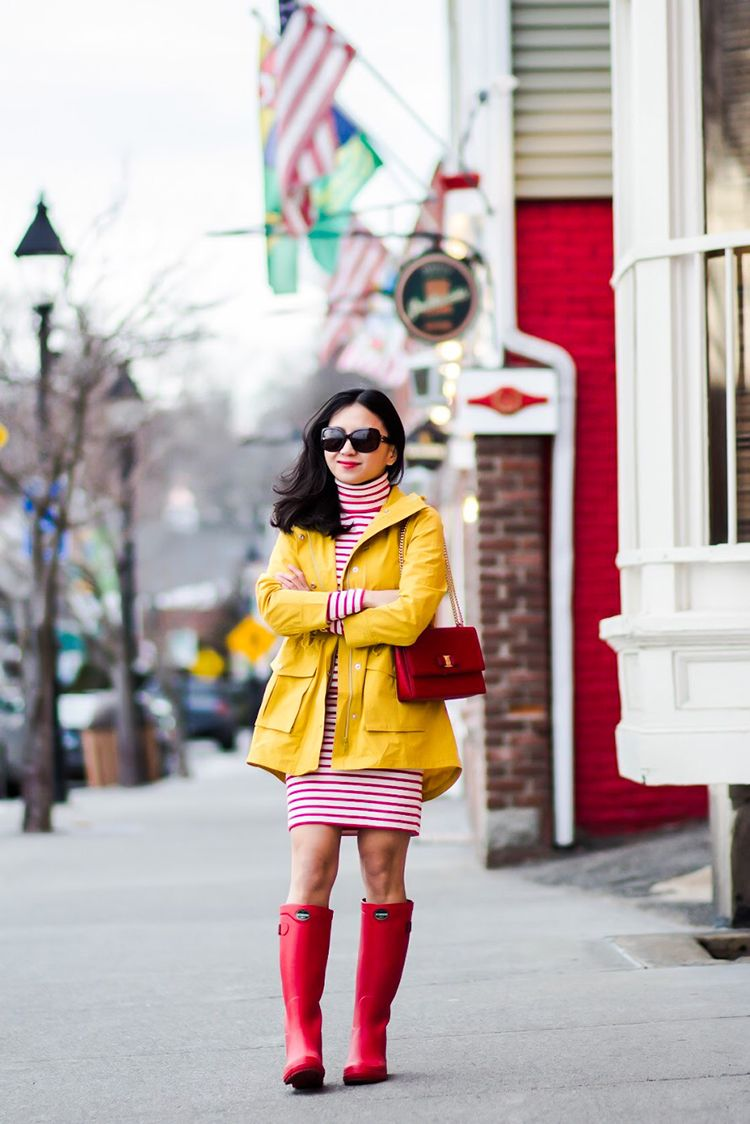 J. Crew Perfect RainJacket in Rich Gold || J. Crew Striped Turtleneck Dress