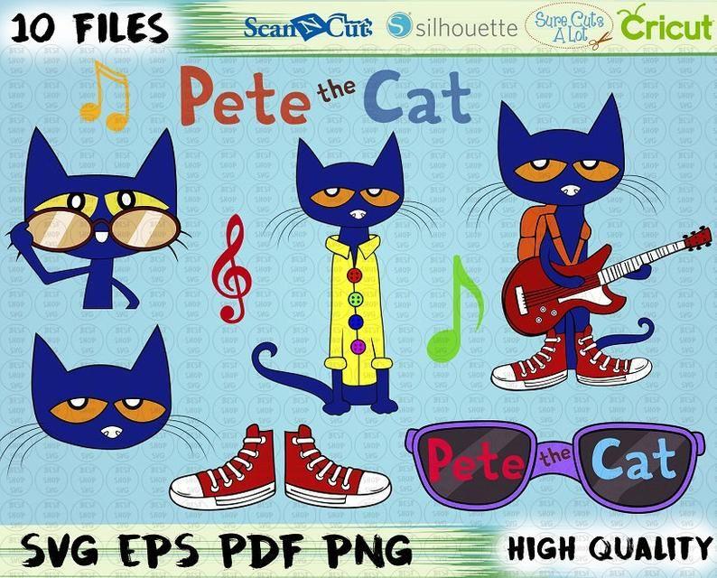 Pete The Cat Svg Inspired Pete The Cat Pngpdf Birthday Etsy Pete The Cat Cat Birthday Cat Theme
