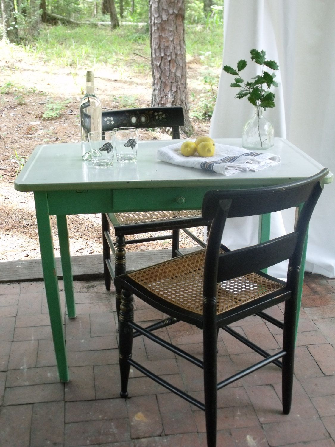 Vintage Metal Top Kitchen Table With Green Frame 175 00 Via