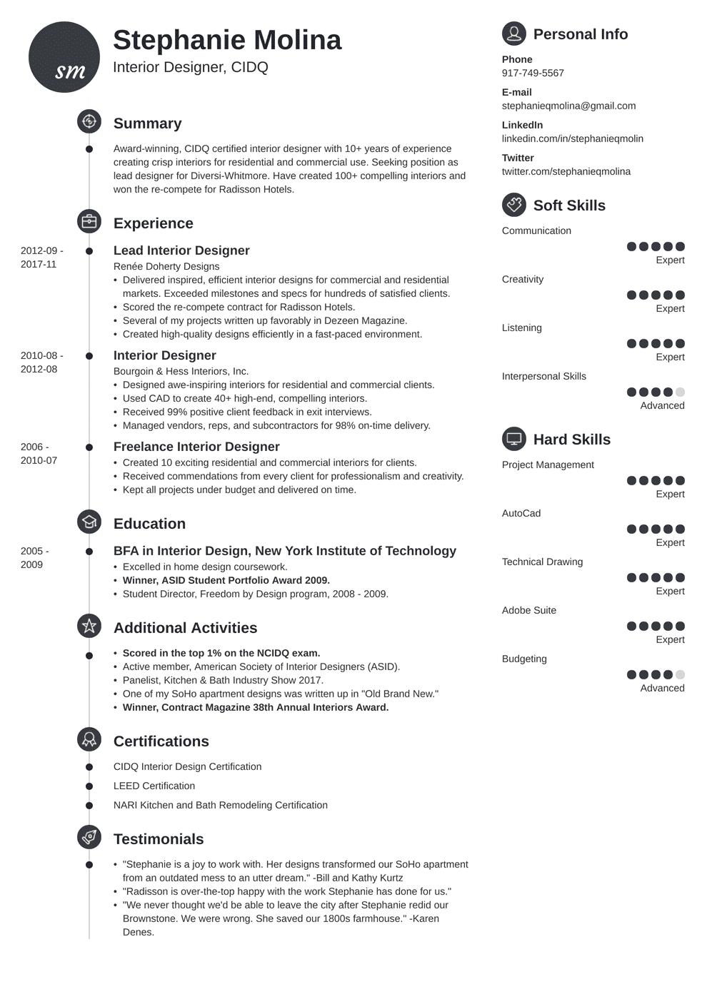 Interior Design Resume Examples [+Key Skills and