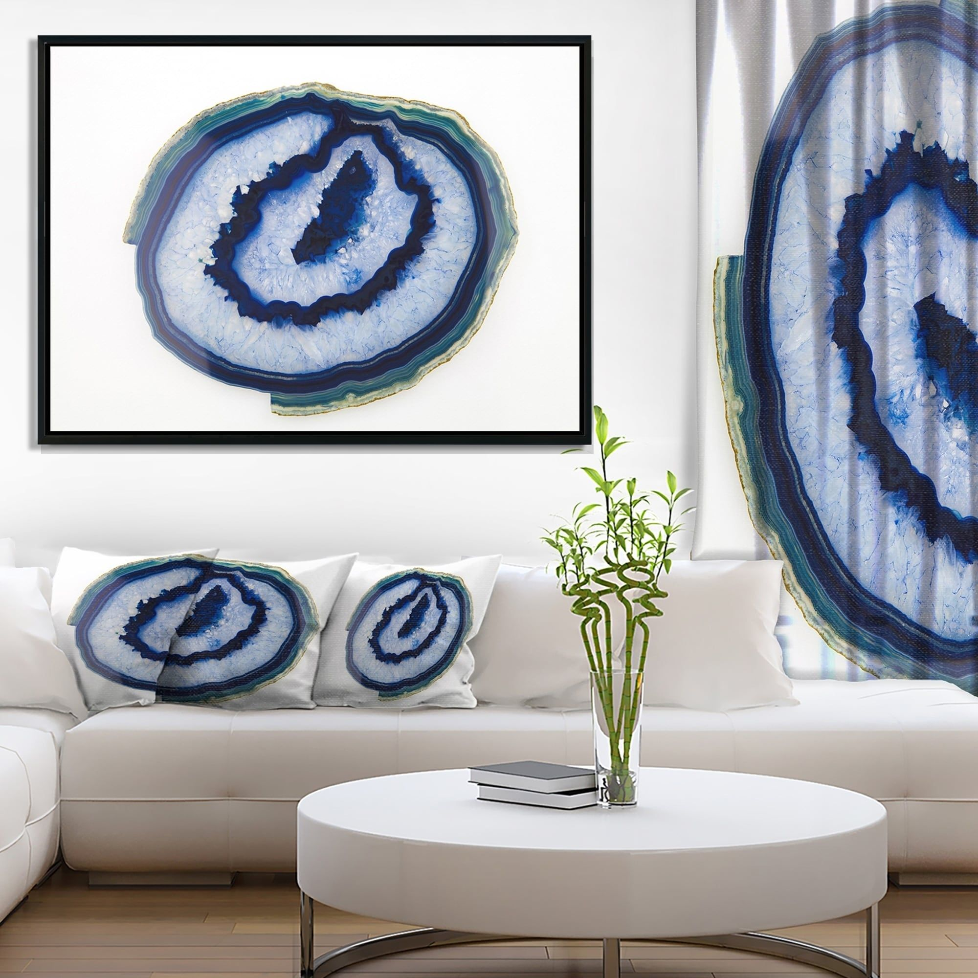 Designart Slice Of Beautiful Blue Agate Abstract Framed Canvas Wall